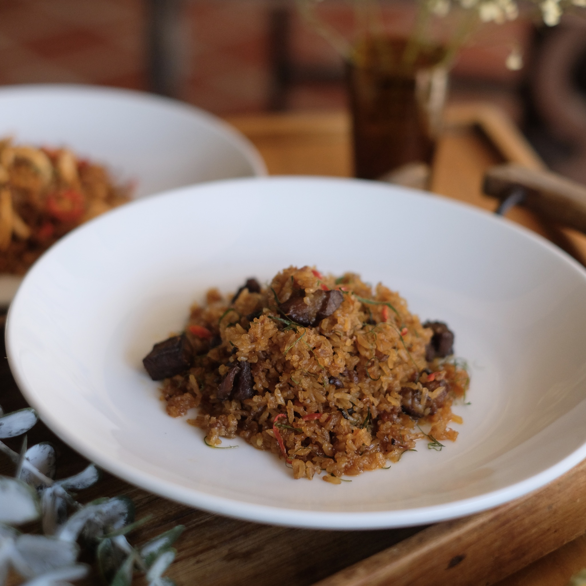 Panang Fried Rice with Marinated Pork or Prawns (Paella Style)