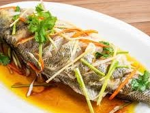 Seabass whole fish steamed