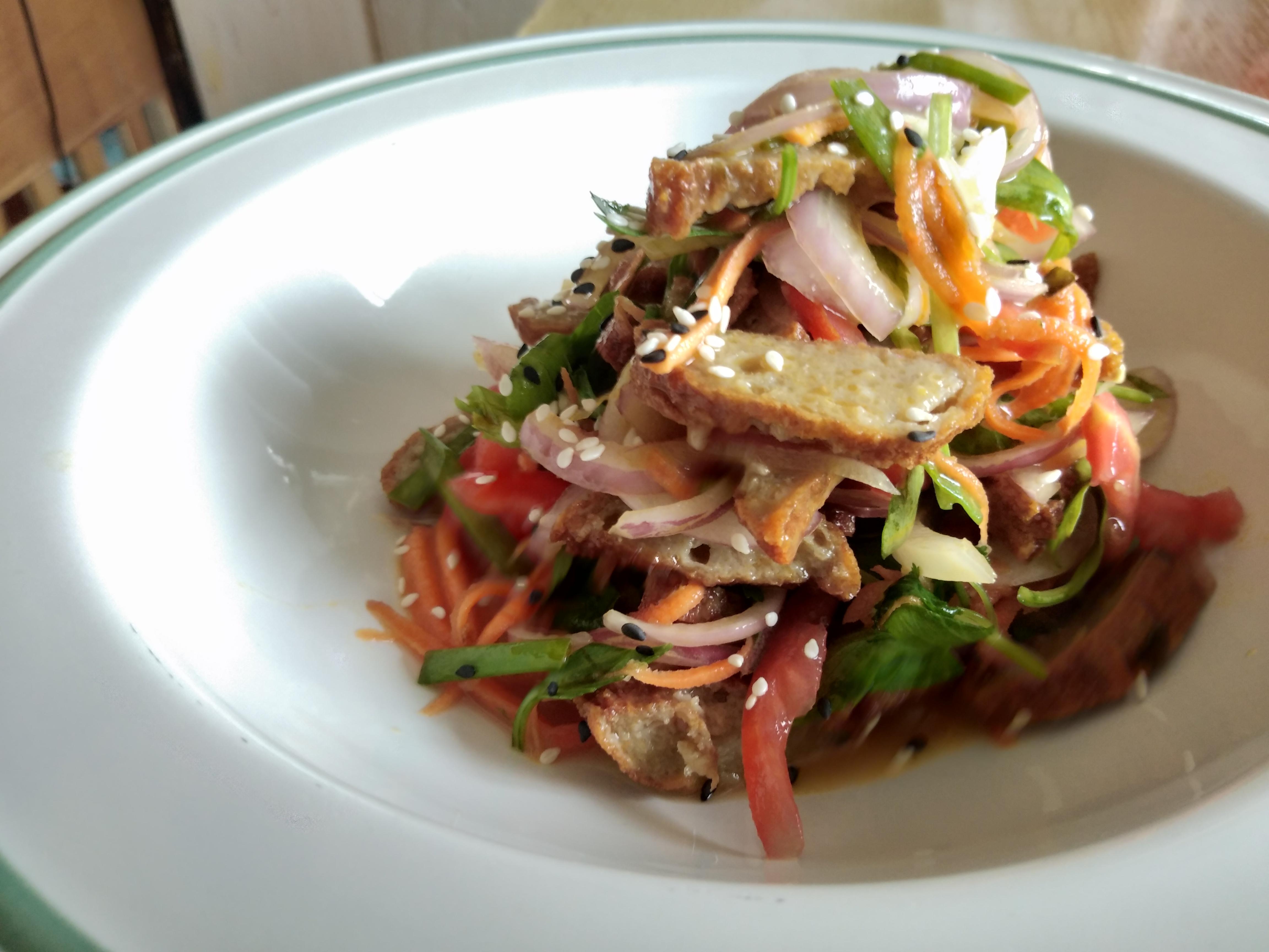 Burmese fish cake salad