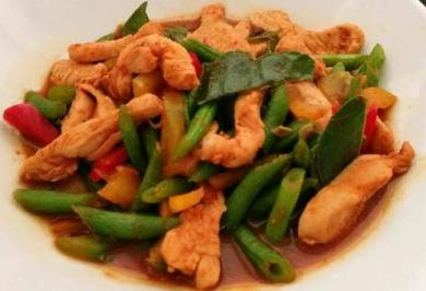 Fried (chicken, pork, shrimp, squid) in red curry