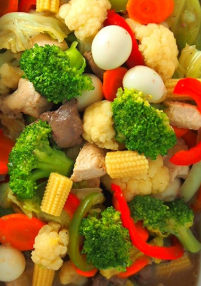 Fried (pork/chicken/shrimp/seafood) with mixed vegetable
