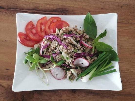 Vegan Lab Moo with brown rice