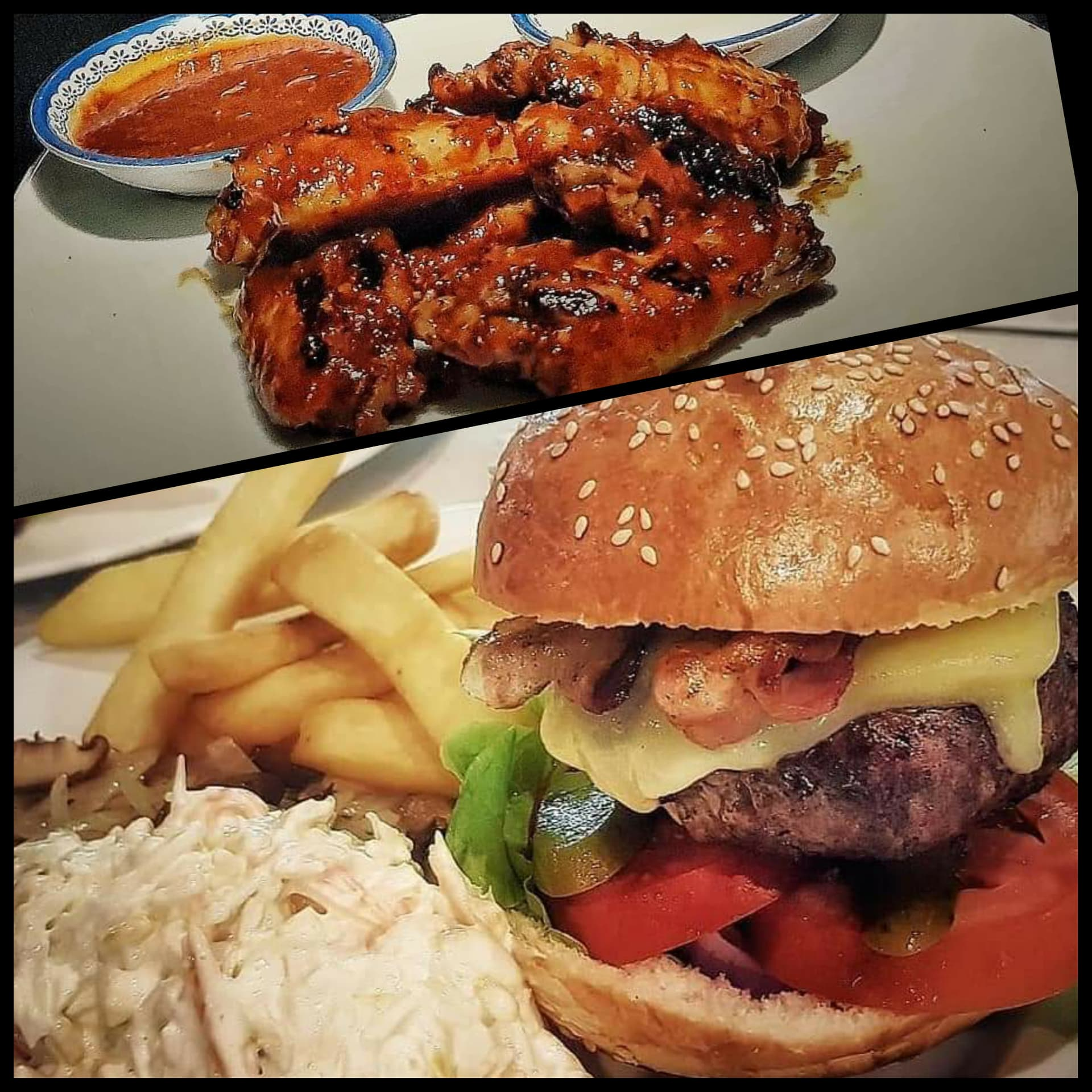 250g All American Burger Inc Sides & Buffalo HOT Wings Deal!