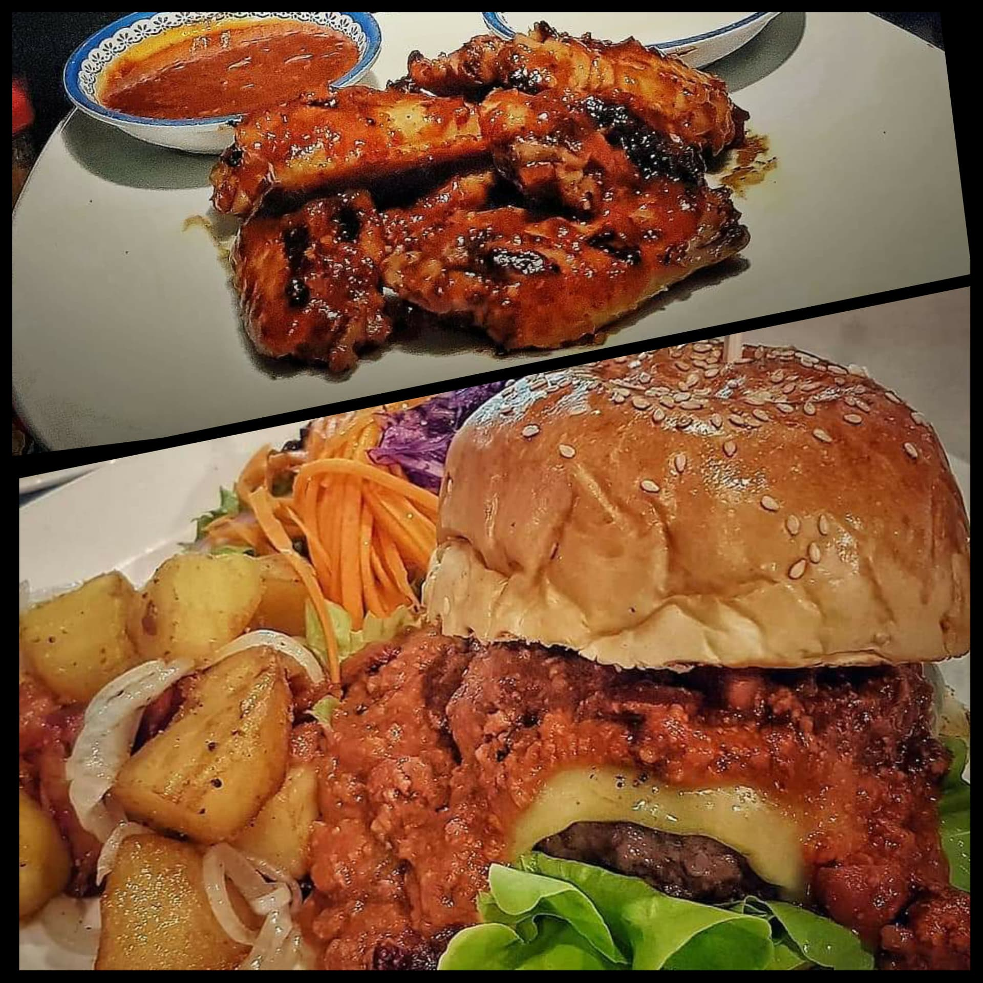 250g Chili-Cheese Burger Inc Sides & BBQ Chicken Wings Deal!