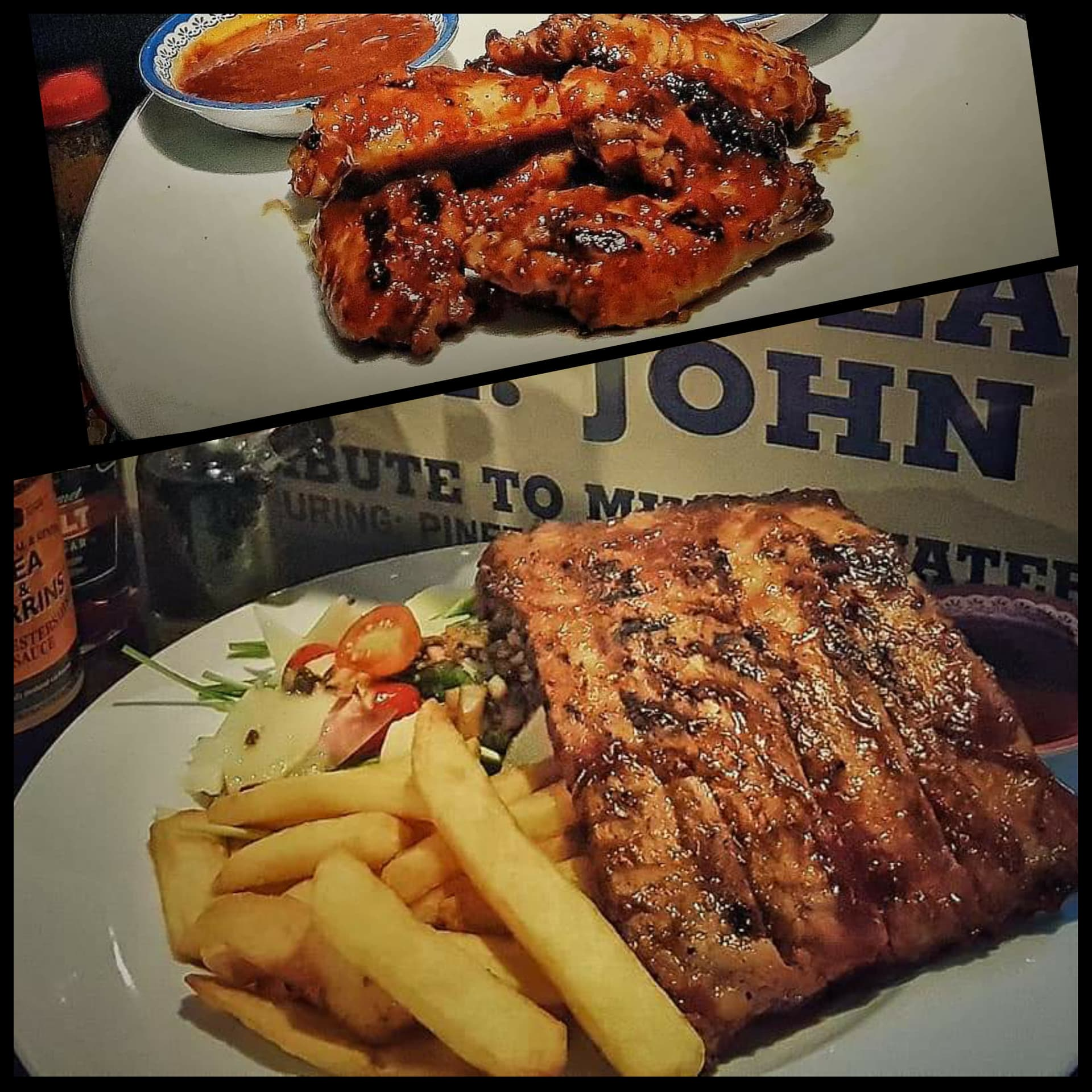 Half rack of BBQ ribs AND BBQ Chicken Wings MEAL Deal!