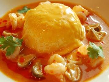 Omelet with Tom yum Shrimp